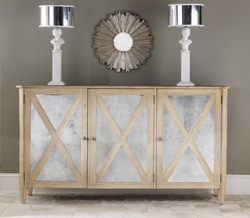 Mirrored Three-Door Cabinet in Two Color Options