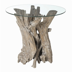 Nantucket Driftwood and Glass Side Table