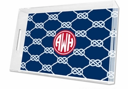 Nautical Knot Lucite Navy Tray - Available in Three Sizes
