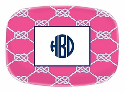 Nautical Knot Raspberry Melamine Platter