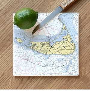 Nautical Map Glass Cutting Board - Customize your Location<font color=a8bb35> NEW</font>