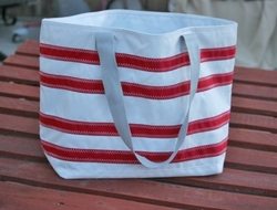 Nautical Stripe Sailcloth Tote Large in Two Colors
