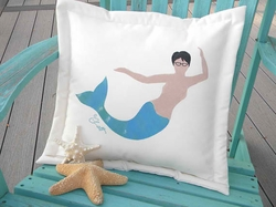 Neptune Mermaid Outdoor Pillow