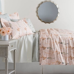 Oiseaux Sateen Duvet Cover Pink<font color=a8bb35> NEW</font>