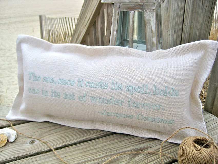Once Its Spell Is Cast Coastal Phrase Pillow For Sale