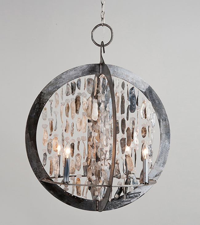 Ossabaw Shelled Double Ring Chandelier In Two Options For