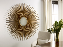 Oval Florentine Starburst Mirror - Gold or Silver Finish