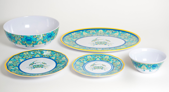 Paisley Crab Melamine Dinner Set with Platter for Sale - Cottage u0026 Bungalow  sc 1 st  Cottage u0026 Bungalow & Paisley Crab Melamine Dinner Set with Platter for Sale - Cottage ...