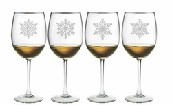 Paper Snowflakes Wine Glasses Set of 4