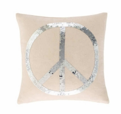 Peace Silver Sequin Pillow
