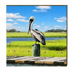 Pelican on Piling Beach Wall Art