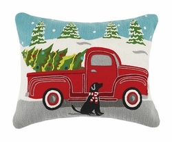 Pick Up Truck with Christmas Tree Crewel Pillow