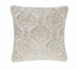 Pine Cone Hill Damask Velvet Embroidered Grey Decorative Pillow <font color=a8bb35> NEW</font>