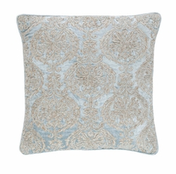 Pine Cone Hill Damask Velvet Embroidered Robin's Egg Blue Decorative Pillow <font color=a8bb35> NEW</font>