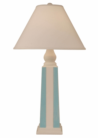 Pyramid Stripe Pot Lamp in Ivory/Turquoise
