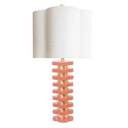 Quatrefoil Lamp in Coral