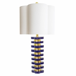 Quatrefoil Lamp in Indigo Blue