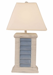 Rectangle Shutter Pot Lamp in Ivory & Blue
