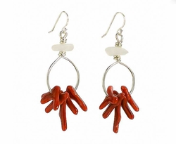 Reproduction Coral Bead Earrings