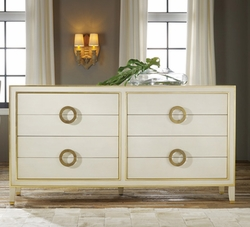 Retro Abstract Dresser in Antique Gold with White Accents