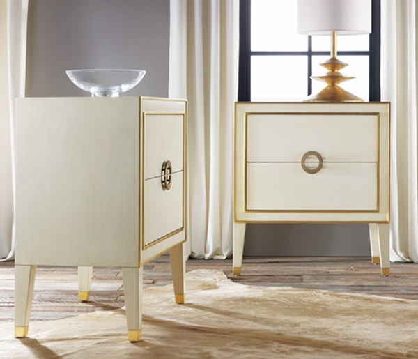 Retro Nightstand in Antique White with Gold Accents