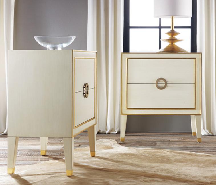Retro Nightstand In Antique White With Gold Accents For