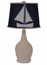 Round Accent Lamp with Navy Shade