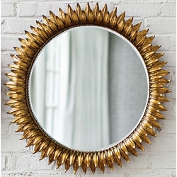 Round Sun Mirror in Antique Gold