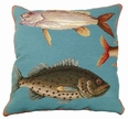 Saltwater Fish Needlepoint I Pillow