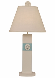 Sand Dollar Panel Table Lamp in Turquoise