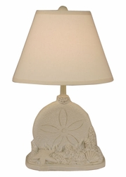 Sand Dollar with Shell Table Lamp in Khaki Wash