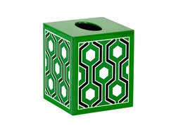 Sasoon Lacquered Tissue Box in Green