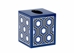 Sasoon Lacquered Tissue Box in Navy