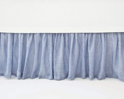 Savannah Linen Chambray French Blue Bed Skirt<font color=cf2317> 20% Off</font>