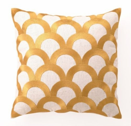 Scales Linen Embroidered Pillow in Citron