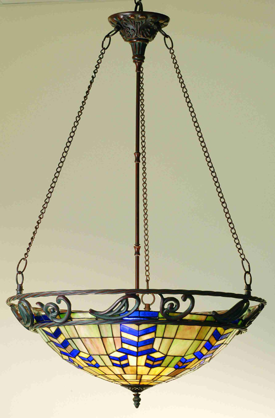 Inverted Stained Glass Pendant Lighting For Kitchen