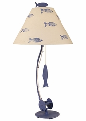 Sea Fishing Pole Table Lamp in Blue