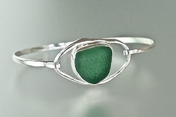 Sea Glass Bracelet with Lagoon Loop<font color=cf2317> Custom Made Upon Order</font>