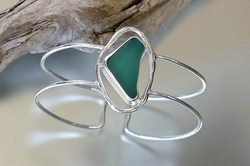Sea Glass Cuff Bracelet with Lagoon Link