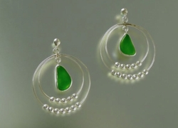 Sea Glass Earrings with Silver Ball Loop