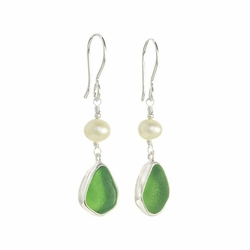 Sea Glass Earrings with Pearl Drop