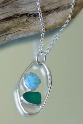 Sea Glass Pendant with lagoon Link<font color=cf2317> Custom Made Upon Order</font>