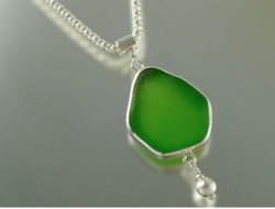 Sea Glass Pendant with Silver Ball Drop<font color=cf2317> Custom Made Upon Order</font>
