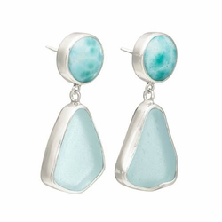Sea Glass Post Earrings with Lagoon Short Link