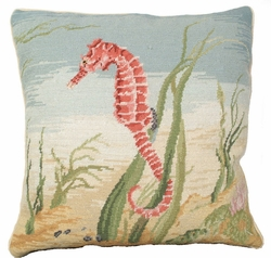 Sea Horse Needlepoint Pillow