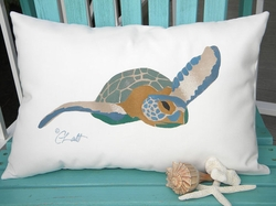 Sea Turtle Lumbar Outdoor Pillow