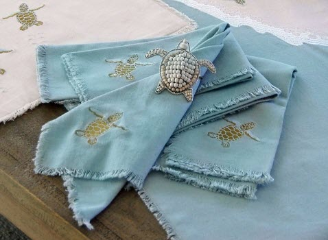 Sea Turtle Cotton Linen Table Runner With Placemat Option