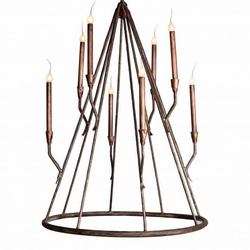 Seabrook Cone Chandelier with Copper Accents, Large