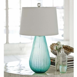 Ribbed Seaglass Art Lamp
