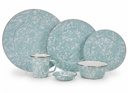 Seaglass Teal Enamel Dinner Set